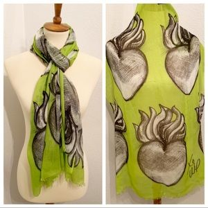 Waxing Poetic Sacred Heart Lime Scarf